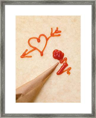 Heart With Arrow, Piping Bag And Ketchup Framed Print