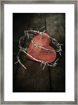 Heart With Barbed Wire Framed Print by Joana Kruse