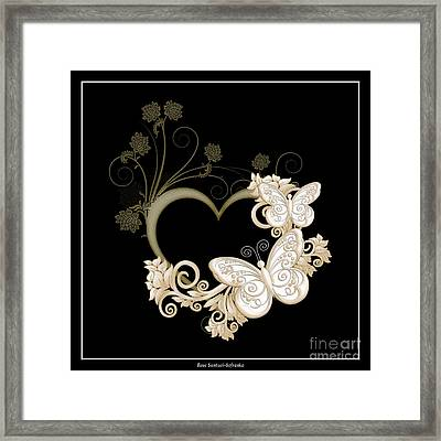 Heart With Butterflies And Flowers On Black Framed Print by Rose Santuci-Sofranko