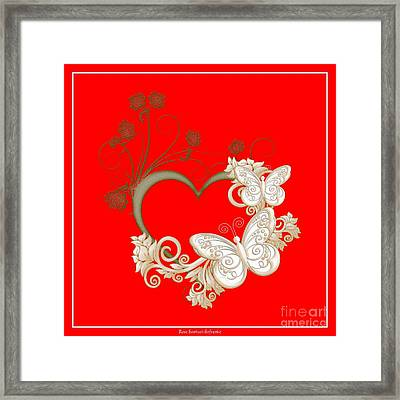 Heart With Butterflies And Flowers Framed Print by Rose Santuci-Sofranko