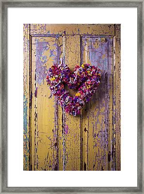 Heart Wreath On Yellow Door Framed Print by Garry Gay