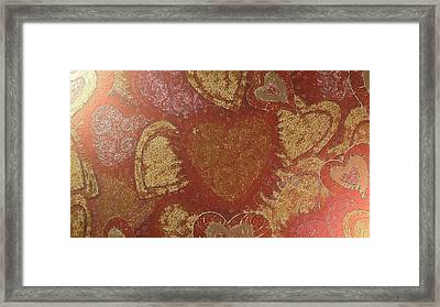 Hearted In Gold Silk Framed Print by Catherine Lott