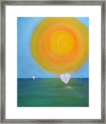 Hearts A-sail On A Hopeful Sea Framed Print by Eileen Lighthawk