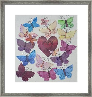 Hearts And Butterflies Framed Print