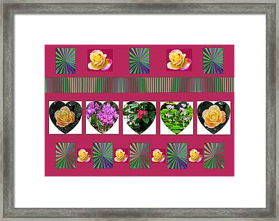 Hearts And Flowers 2 Framed Print by Marian Bell