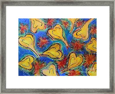 Hearts And Red Stars Framed Print by Kelly Athena