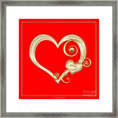 Hearts In Gold And Ivory On Red Framed Print by Rose Santuci-Sofranko