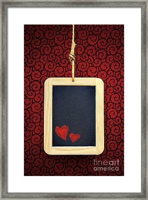 Hearts In Slate Framed Print by Carlos Caetano