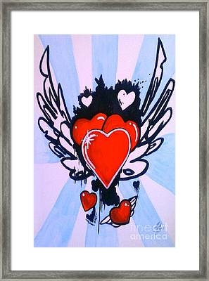 Framed Print featuring the painting Hearts by Marisela Mungia