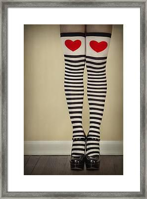 Hearts N Stripes Framed Print by Evelina Kremsdorf