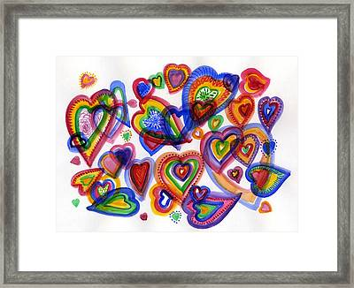 Hearts Of Colour Framed Print