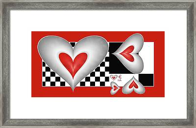Hearts On A Chessboard Framed Print