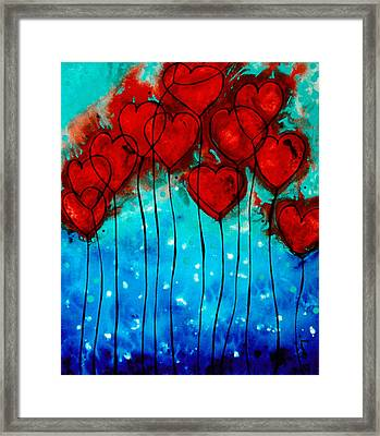 Hearts On Fire - Romantic Art By Sharon Cummings Framed Print