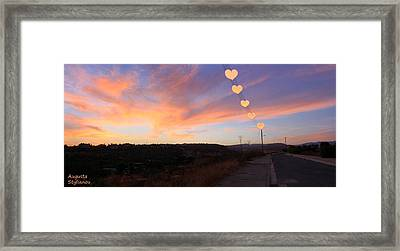 Hearts Sunset Framed Print by Augusta Stylianou
