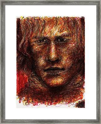 Heath Ledger - Red Framed Print by Rachel Scott