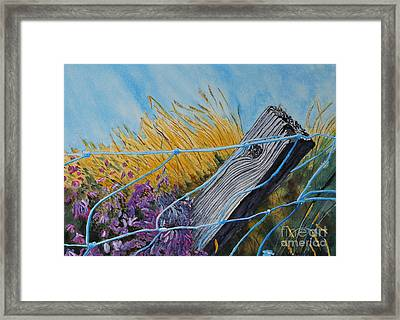 Heather On The Fence Framed Print