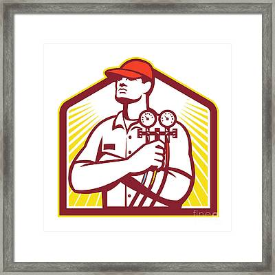 Heating And Cooling Refrigeration Technician Retro Framed Print