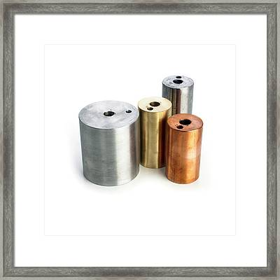 Heating Blocks Of Different Metals Framed Print by Science Photo Library