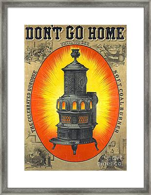 Heating Stove Ad 1874 Framed Print by Padre Art