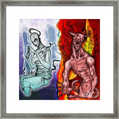Heaven And Hell - New School Tattoo Art Framed Print by Gregory Dyer
