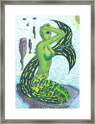 Framed Print featuring the drawing Heaven And The Sea. by Kenneth Clarke