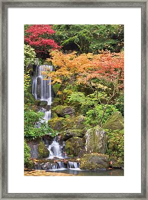 Heavenly Falls And Autumn Colors Framed Print