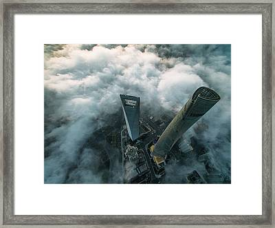 Heavenly View Of Shanghai Framed Print