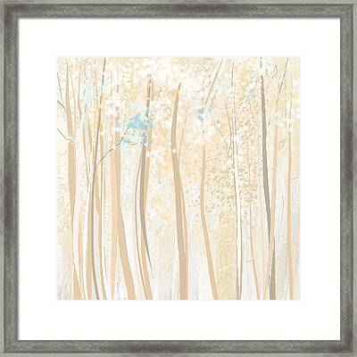 Heavenly Woods- Teal And White Art Framed Print by Lourry Legarde