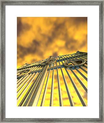 Heavens Golden Gates And Yellow Sky Framed Print