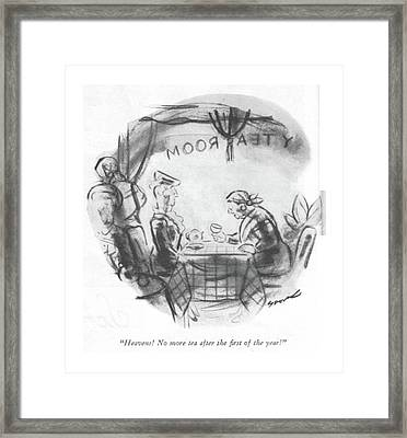 Heavens! No More Tea After The ?rst Of The Year! Framed Print by Leonard Dove