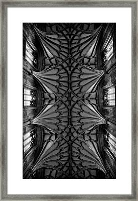 Heavenward -- Winchester Cathedral Ceiling In Black And White Framed Print