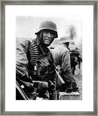 Heavily Armed German Soldiers Advancing Framed Print by Everett