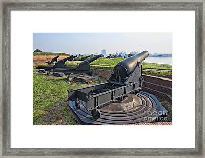 Heavy Cannon At Fort Mchenry In Baltimore Maryland Framed Print by William Kuta