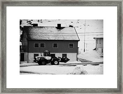 Heavy Duty Loader Carrying Grit And Stones For Winter Road Preparation Havoysund Finnmark Norway  Framed Print by Joe Fox