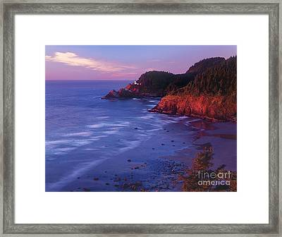 Framed Print featuring the photograph Heceta Head Lighthouse At Sunset Oregon Coast by Dave Welling