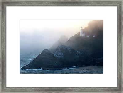 Heceta Head Lighthouse On The Oregon Framed Print