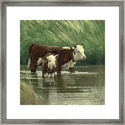 Framed Print featuring the painting Heffers In The Pond by John Reynolds