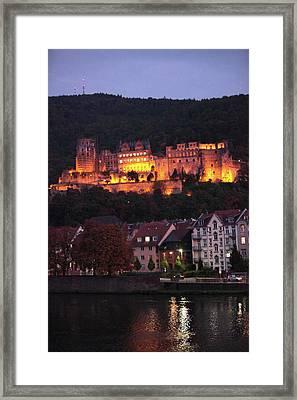 Heidelberg Castle Illuminated At Night Framed Print