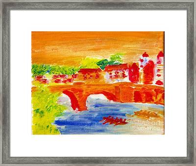 Heidelberg Old Bridge And Neckar River 1 Framed Print by Richard W Linford