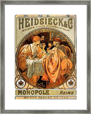 Heidsieck Champagne Poster Advert Framed Print by Philip Ralley