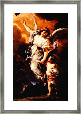 Heiliger Schutzengel Pietro Da Cortona Guardian Angel  Enhanced Remastered Framed Print by MotionAge Designs