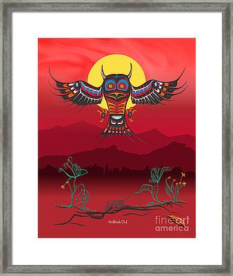 Heiltsuk Owl Living Not Surviving Framed Print by Fred Anderson jr