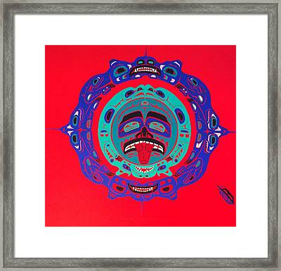 Heiltsuk Sun Four Bears Framed Print by Fred Anderson jr