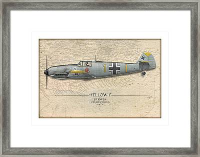 Heinz Ebeling Messerschmitt Bf-109 - Map Background Framed Print by Craig Tinder