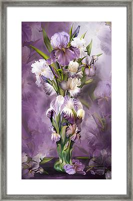Heirloom Iris In Iris Vase Framed Print by Carol Cavalaris