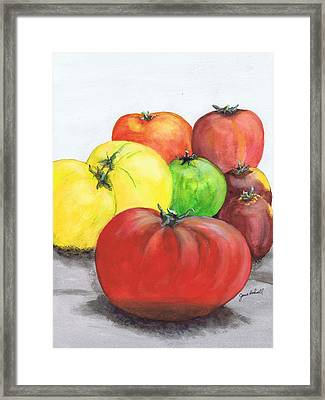 Framed Print featuring the painting Heirloom Tomatoes by June Holwell