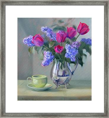 Heirlooms- Lilacs And Tulips In A Silver Pitcher Framed Print by Bonnie Mason