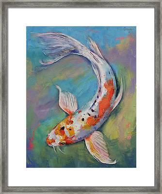 Heisei Nishiki Koi Framed Print by Michael Creese
