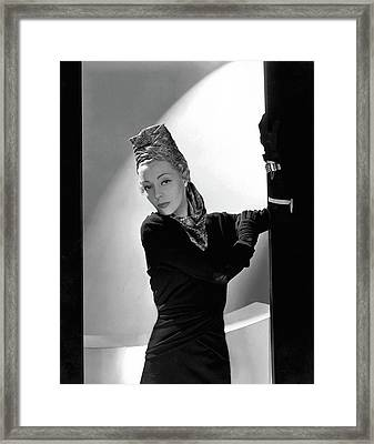Helen Bennett Wearing A Balenciaga Dress Framed Print by Horst P. Horst