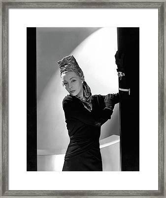 Helen Bennett Wearing A Balenciaga Dress Framed Print